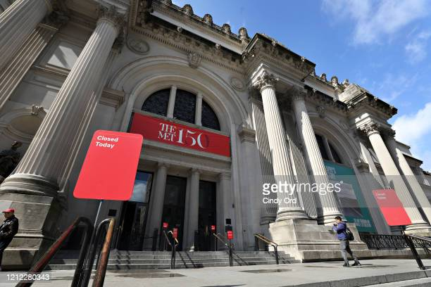 A closed sign is seen outside of The Metropolitan Museum of Art on March 13 2020 in New York City Due to the ongoing threat of the coronavirus...