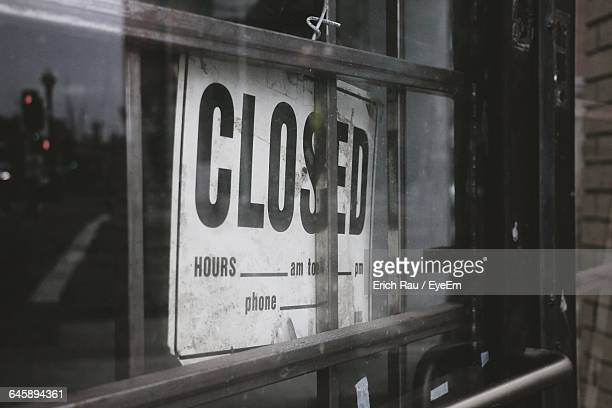 Closed Sign Seen Through Glass Window