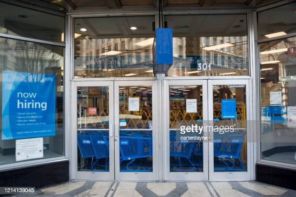 closed stores during seattle washington coronavirus covid-19 pandemic - disease vector stock pictures, royalty-free photos & images