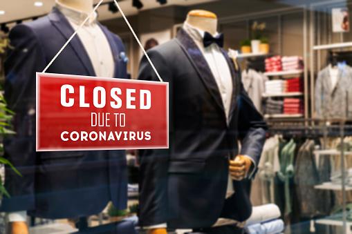 Closed Suit Store Due To Coronavirus 1218644767