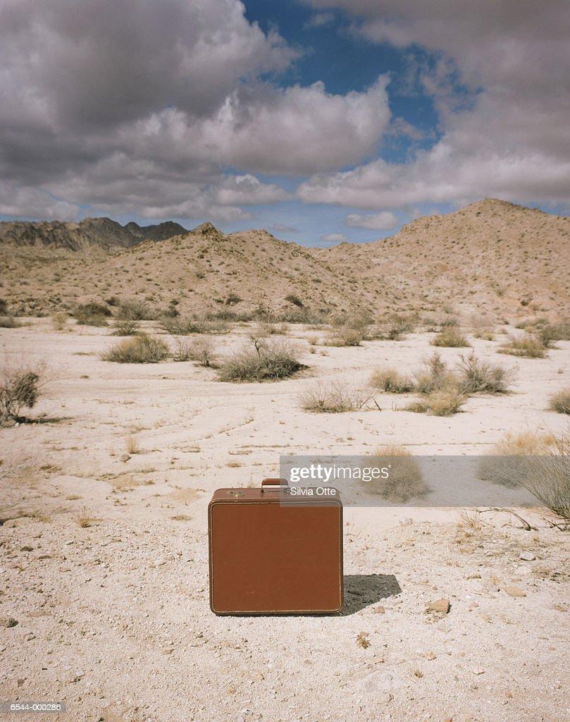Closed Suitcase in Desert : Stock-Foto