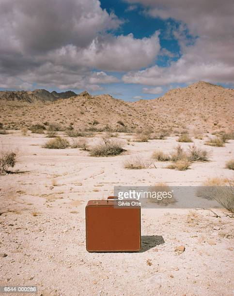 Closed Suitcase in Desert