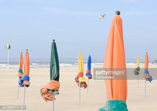 Closed sunshades on beach