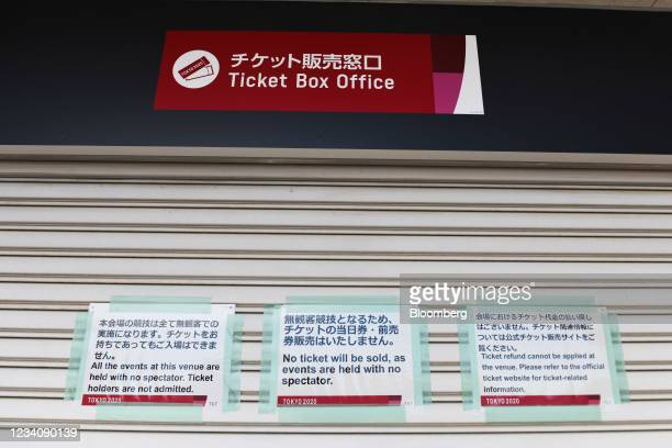 Closed ticket box office kiosk at Ajinomoto Stadium, ahead of an opening round women's football match between the U.S. And Sweden, at the Tokyo 2020...