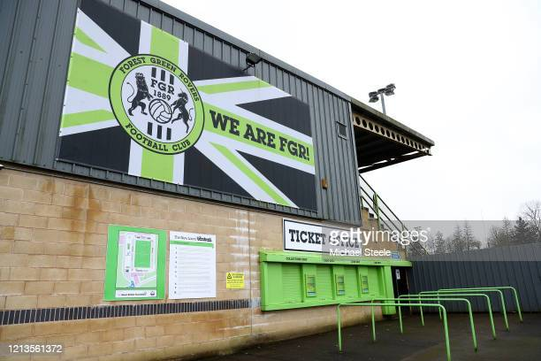 Closed ticket office outside the main grandstand at New Lawn Stadium home of Forest Green Rovers on March 19, 2020 in Nailsworth, England.