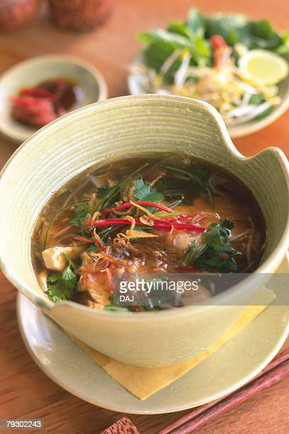 Closed Up Image of a Balinese Chicken soup, High Angle View, Differential Focus