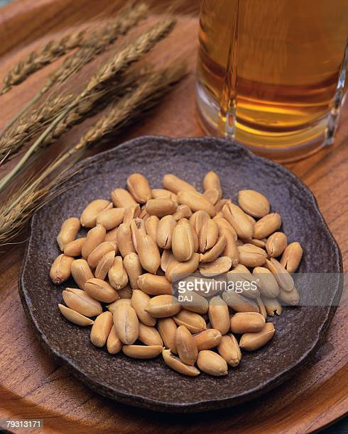 Closed Up Image of a Little Plate Filled With Peanuts and a Beer, High Angle View