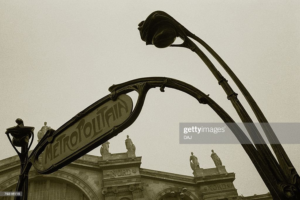 Closed Up Image of a Signboard of a Subway Station, Low Angle View, Side View, Paris, France : Stock Photo