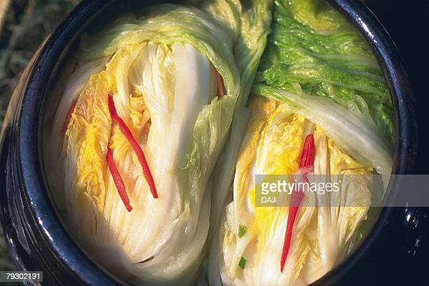Closed Up Image of Kimchi of Chinese Cabbage, High Angle View