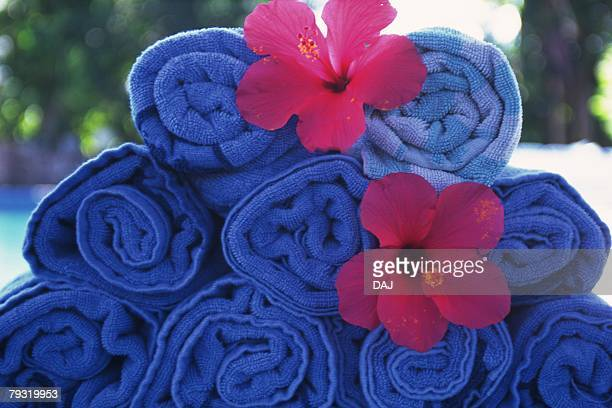 Closed Up Image of Roll of Blue Towels, Side View