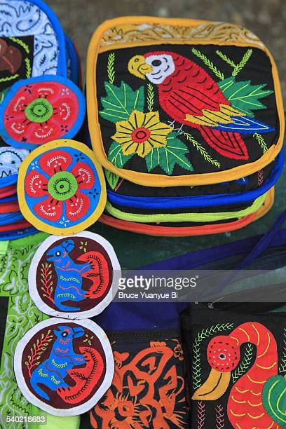 closed up view of colorful mola pieces - mola stock pictures, royalty-free photos & images