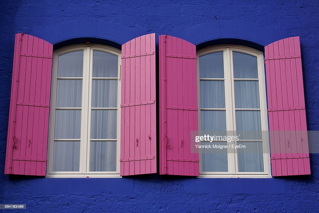 Closed Windows Of House : Stock Photo