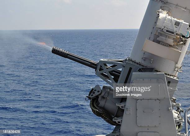 a close-in weapons system aboard the amphibious transport dock ship uss denver. - bang boat stock pictures, royalty-free photos & images