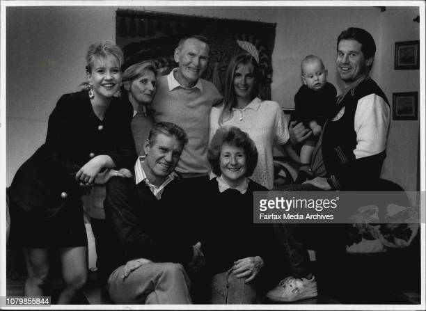A closeknit clan Bill and Margaret Robinson seated with daughter Mandi left son Andrew holding baby Tom Andrew's wife Shelley and her parents Val and...