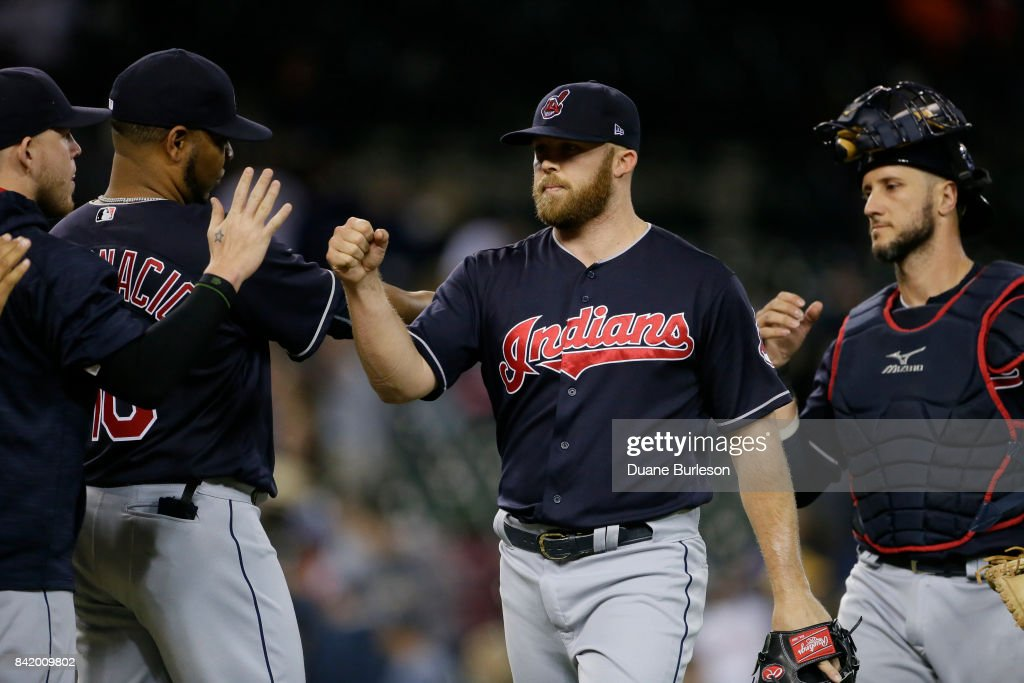 Closer Cody Allen #37 of the Cleveland Indians celebrates with teammates after recording his 23rd save in a 5-2 win over the Detroit Tigers at Comerica Park on September 2, 2017 in Detroit, Michigan.