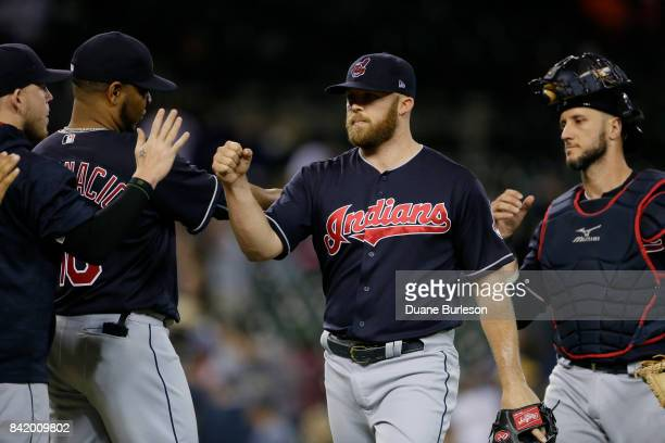 Closer Cody Allen of the Cleveland Indians celebrates with teammates after recording his 23rd save in a 52 win over the Detroit Tigers at Comerica...