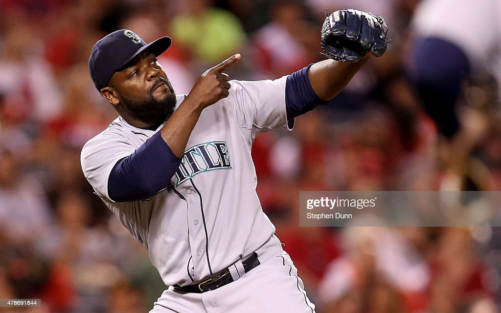 Closer Fernando Rodney #56 of the Seattle Mariners celebrates after getting the final out and the save against the Los Angeles Angels of Anaheim at Angel Stadium of Anaheim on June 26, 2015 in Anaheim, California. The Mariners won 3-1.