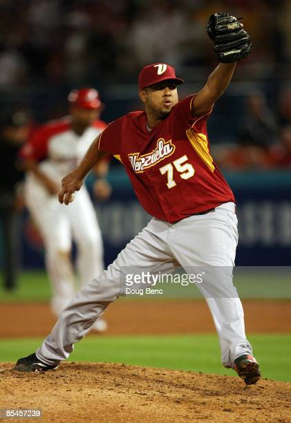 Closer Francisco Rodriguez of Venezuela pitches against Puerto Rico during day 3 of round 2 of the World Baseball Classic at Dolphin Stadium on March...