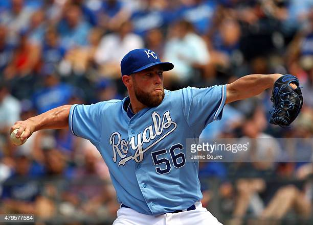 Closer Greg Holland of the Kansas City Royals pitches during the game against the Minnesota Twins at Kauffman Stadium on July 5, 2015 in Kansas City,...