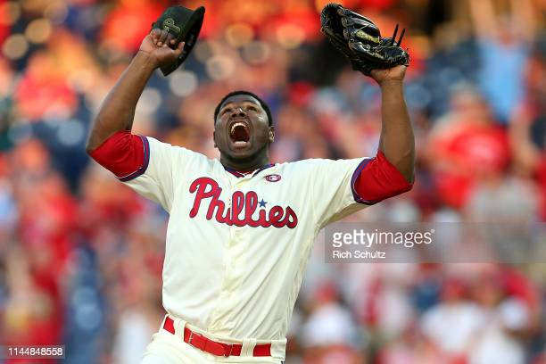 Closer Hector Neris of the Philadelphia Phillies reacts after the final out of a game against the Colorado Rockies at Citizens Bank Park on May 18...