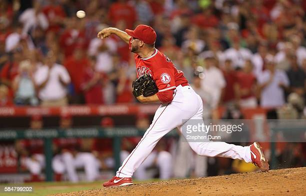 Closer Huston Street of the Los Angeles Angels of Anaheim throws a pitch in the ninth inning on his way to picking up the save against the Boston Red...