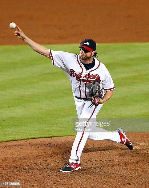Closer Jason Grilli of the Atlanta Braves throws a pitch in the ninth inning during the game against the San Diego Padres at Turner Field on June 9...