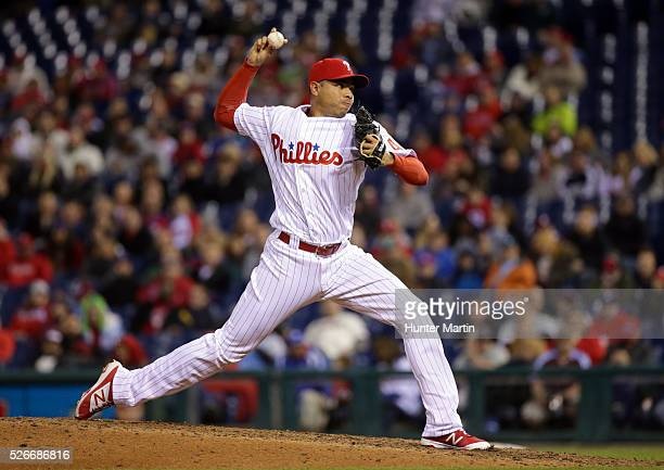 Closer Jeanmar Gomez of the Philadelphia Phillies throws a pitch in the ninth inning during a game against the Cleveland Indians at Citizens Bank...