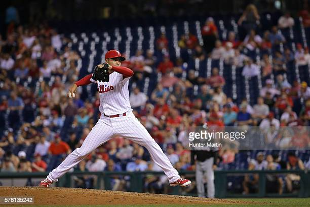 Closer Jeanmar Gomez of the Philadelphia Phillies throws a pitch in the ninth inning during a game against the Miami Marlins at Citizens Bank Park on...