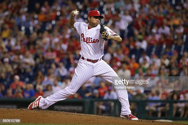 Closer Jeanmar Gomez of the Philadelphia Phillies throws a pitch in the ninth inning during a game against the St Louis Cardinals at Citizens Bank...