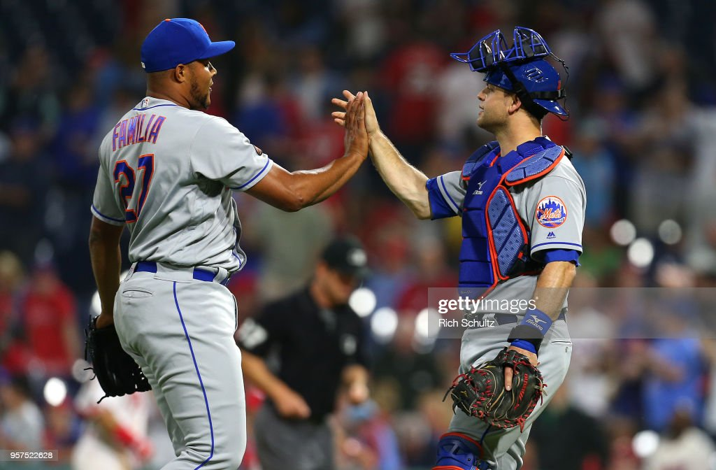 Closer Jeurys Familia #27 and catcher Devin Mesoraco #29 of the New York Mets congratulate each other after defeating the Philadelphia Phillies 3-1 during a game at Citizens Bank Park on May 11, 2018 in Philadelphia, Pennsylvania.