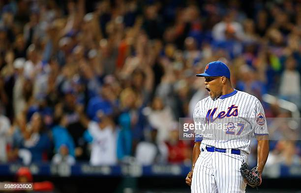 Closer Jeurys Familia of the New York Mets reacts after getting the final out against the Washington Nationals in a 31 win at Citi Field on September...