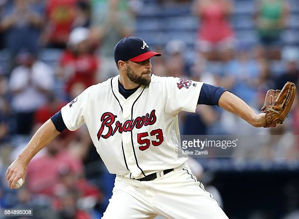 Closer Jim Johnson of the Atlanta Braves throws a pitch in the ninth inning during the game against the Philadelphia Phillies at Turner Field on July...