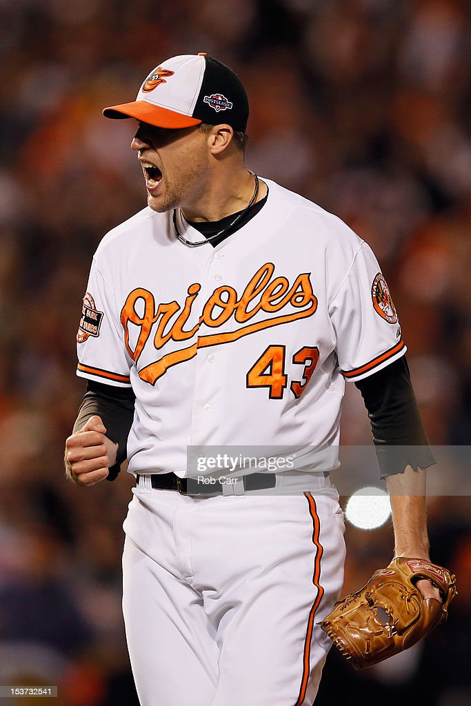 Closer Jim Johnson #43 of the Baltimore Orioles celebrates after the Orioles defeated the New York Yankees 3-2 during Game Two of the American League Division Series at Oriole Park at Camden Yards on October 8, 2012 in Baltimore, Maryland.