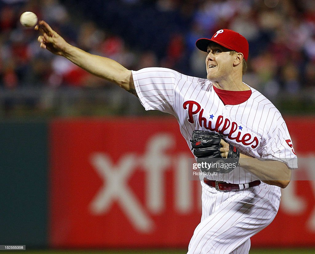 Closer Jonathan Papelbon #58 of the Philadelphia Phillies delivers a pitch against the Atlanta Braves during a MLB baseball game on September 21, 2012 at Citizens Bank Park in Philadelphia, Pennsylvania. The Phillies defeated the Braves 6-2.
