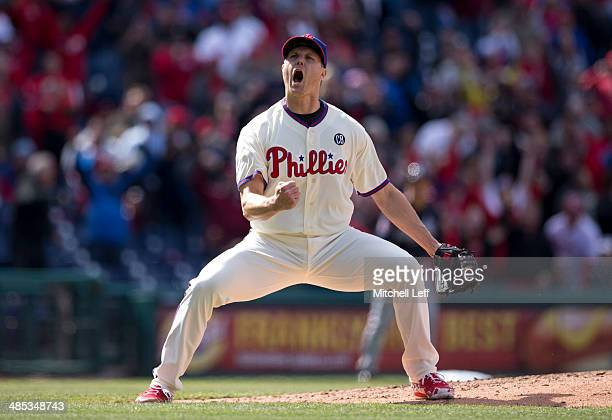 Closer Jonathan Papelbon of the Philadelphia Phillies reacts after earning a save against the Atlanta Braves on April 17 2014 at Citizens Bank Park...