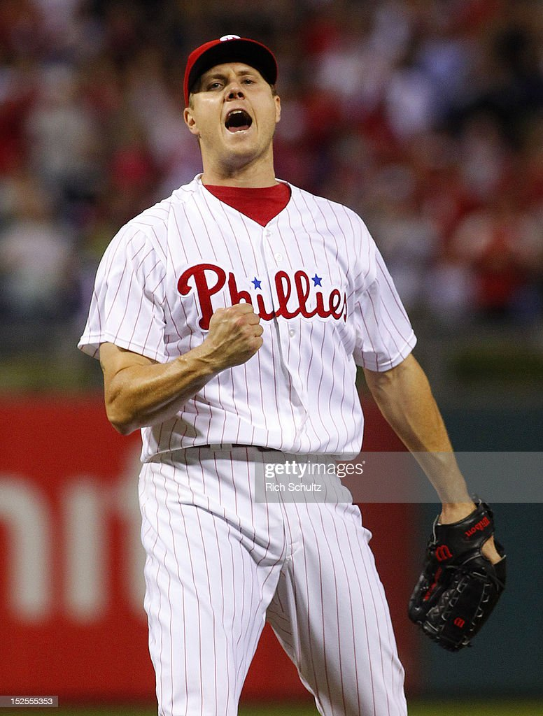 Closer Jonathan Papelbon #58 of the Philadelphia Phillies reacts after striking out Brian McCann #16 of the Atlanta Braves for the final out during a MLB baseball game on September 21, 2012 at Citizens Bank Park in Philadelphia, Pennsylvania. The Phillies defeated the Braves 6-2.