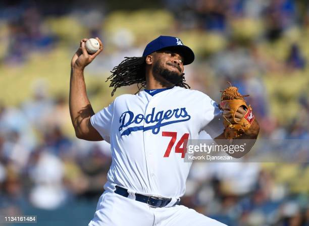 Closer Kenley Jansen of the Los Angeles Dodgers throws against the Arizona Diamondbacks during the ninth inning at Dodger Stadium on March 31 2019 in...