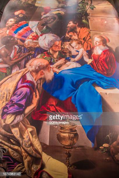 A closer look of a huge painting of Christmas Nativity Scene seen being projected at the Puerta De Alcala monument in Madrid