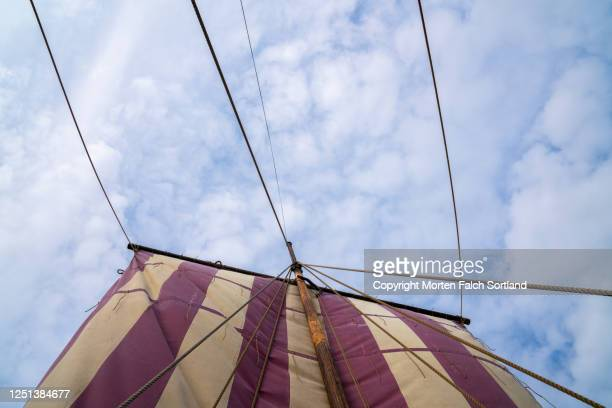 closer look of a mainsail of a ship in bøstad, norway - sail boom stock pictures, royalty-free photos & images