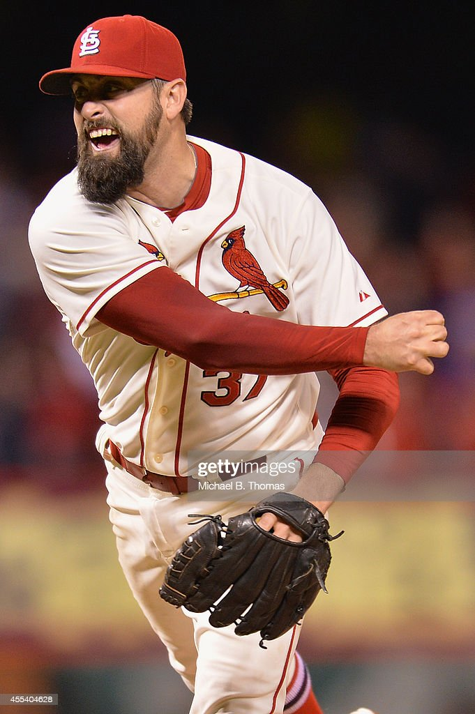 Closer Pat Neshek #37 of the St. Louis Cardinals pitches against the Colorado Rockies in the ninth inning at Busch Stadium on September 13, 2014 in St. Louis, Missouri. The Cardinals defeated the Rockies 5-4.