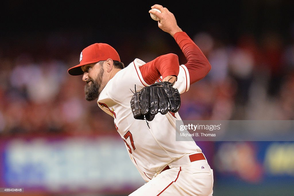 Closer Pat Neshek #37 of the St. Louis Cardinals pitches against the Colorado Rockies in the ninth inning at Busch Stadium on September 13, 2014 in St. Louis, Missouri.
