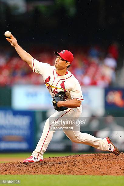 Closer Seung Hwan Oh of the St Louis Cardinals pitches against the Milwaukee Brewers in the ninth inning at Busch Stadium on July 2 2016 in St Louis...