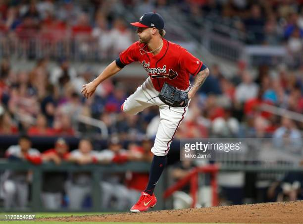 Closer Shane Greene of the Atlanta Braves throws a pitch in the ninth inning during the game against the Washington Nationals at SunTrust Park on...