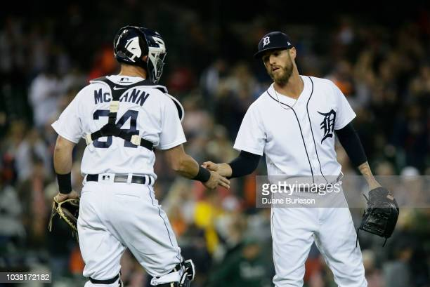 Closer Shane Greene of the Detroit Tigers celebrates with James McCann of the Detroit Tigers after recording his 31st save in a 54 win over the...