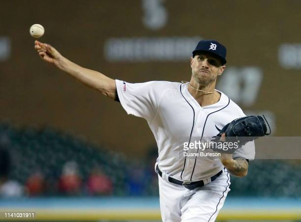 Closer Shane Greene of the Detroit Tigers pitches against the Kansas City Royals during the ninth inning at Comerica Park on May 3 2019 in Detroit...