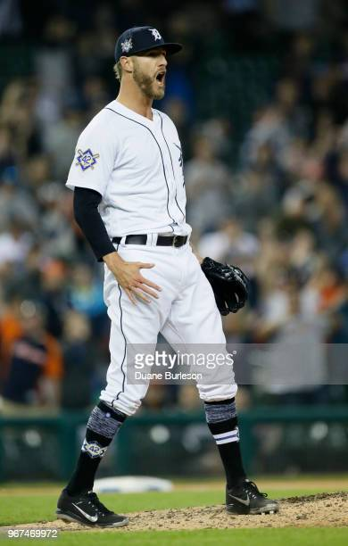 Closer Shane Greene of the Detroit Tigers reacts after striking out Gary Sanchez of the New York Yankees to end game two of a doubleheader at...