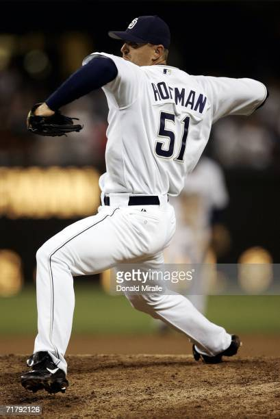 Closer Trevor Hoffman of the San Diego Padres throws from the mound in the top of the 9th inning for his 473rd save in his team's 5-4 win against the...