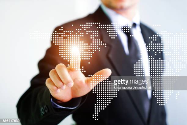 Closer up hand Have a world map,business and map