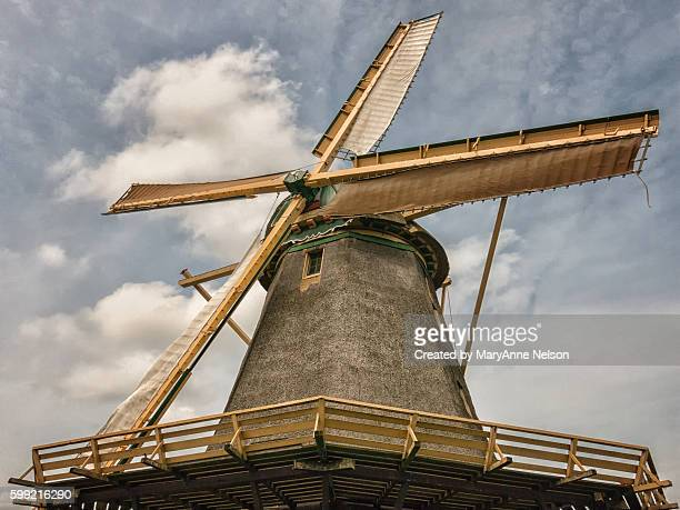 closer view of a netherlands windmill - old windmill stock photos and pictures