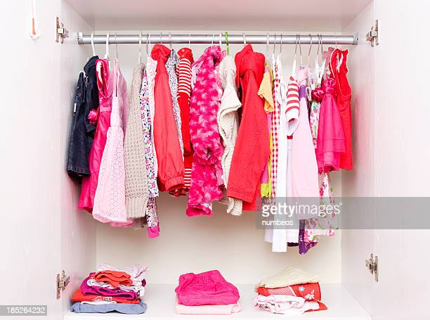 Closet filled with girls clothing